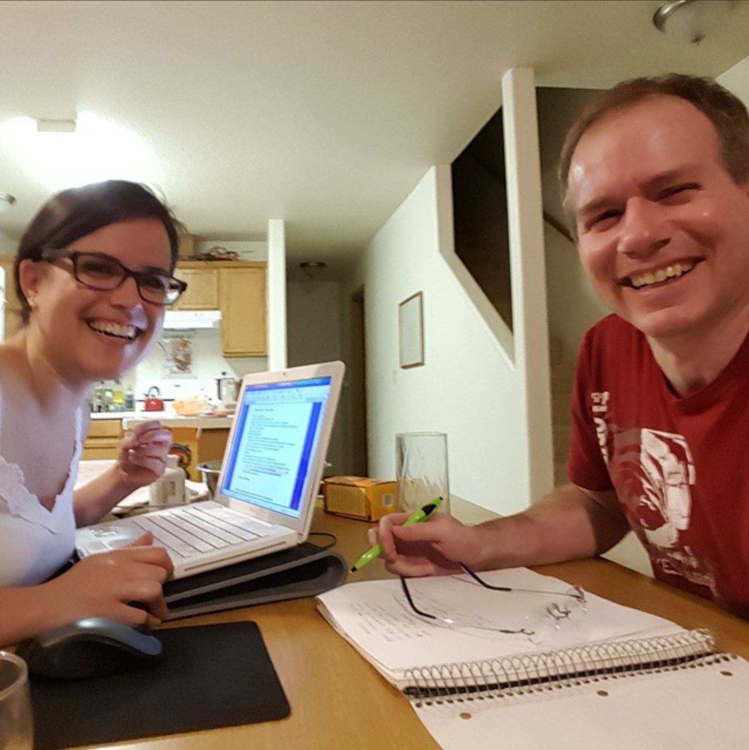 Rochelle and Greg and the 2015 writing marathon.