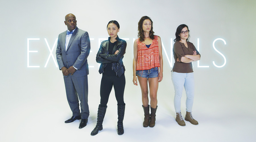 First promotional banner for Exceptionals original series featuring some of the major characters: Abe Rotimi (played by James Moses Black), Rachel LaTour (played by Levy Tran), Vivienne Hayley (played by Chelsey Rae), and Marnie Vega (played by Rochelle Muzquiz).