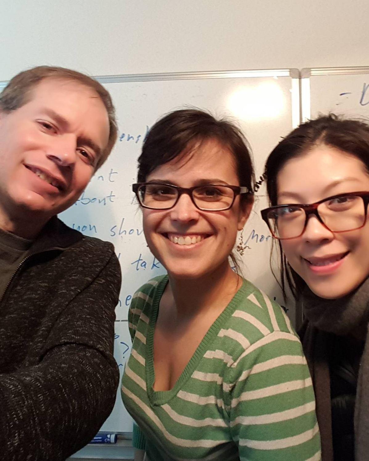 Writers Greg Kerr, Rochelle Muzquiz and Amy Tsang survive a writing marathon while still smiling!
